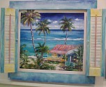 shutter painting with beach house scene